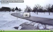 Smiles: Erste Tazzari Zero Probefahrt im Schnee