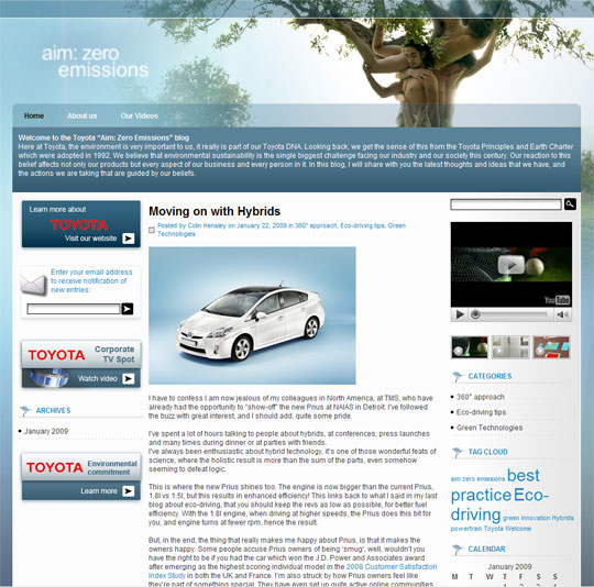 Screenshot Aim: Zero Emissions Blog
