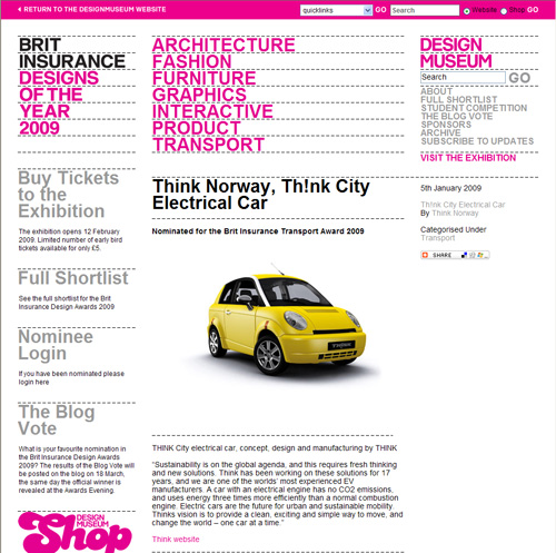 Screenshot von der Nominierung des Think City für den Brit Insurance Transport Award 2009