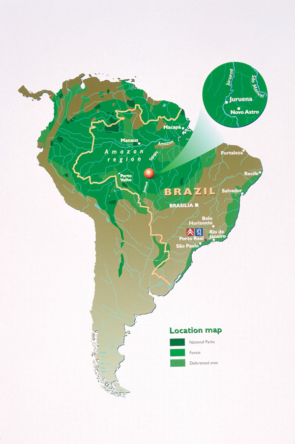 Karte vom Peugeot Regenwaldprojekt in Brasilien