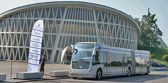 PHILEAS - Brennstoffzellen-Hybridbus vor dem Feierabendhaus in Hürth Knapsack