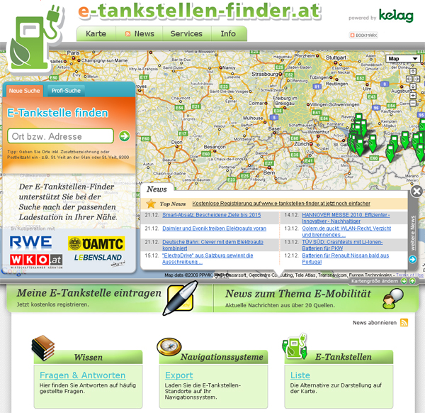 Screenshot vom E-Tankstellen-Finder