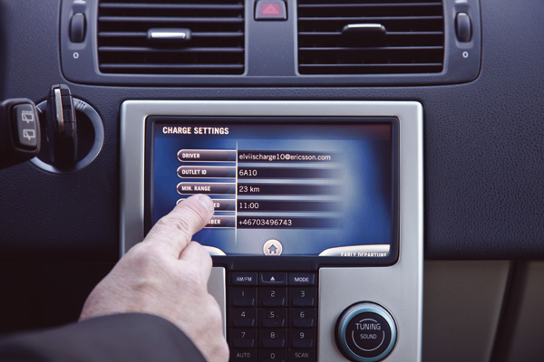 Touchscreen im Volvo C30 Electric