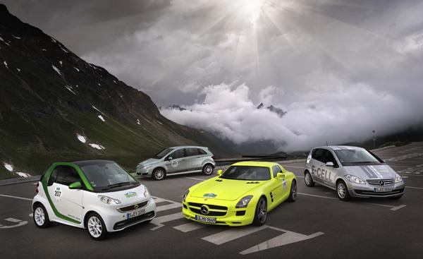 Daimler Fahrzeuge bei der Silvretta E-Auto Rallye