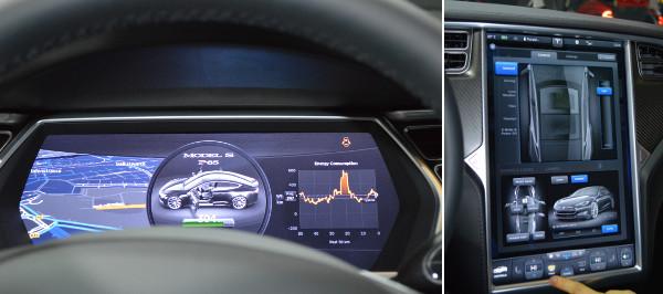 Tesla Mode S - Armaturenbrett und Touchscreen