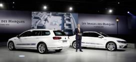 VW Passat GTE mit Plug-In Hybridantrieb auf dem Autosalon in Paris