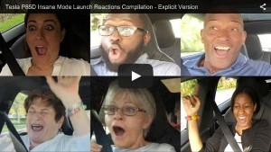 Beifahrer-Reaktionen auf die Beschleunigung des Tesla Model S P85D