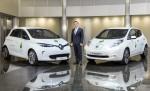 Carlos Ghosn mit Renault ZOE und Nissan LEAF