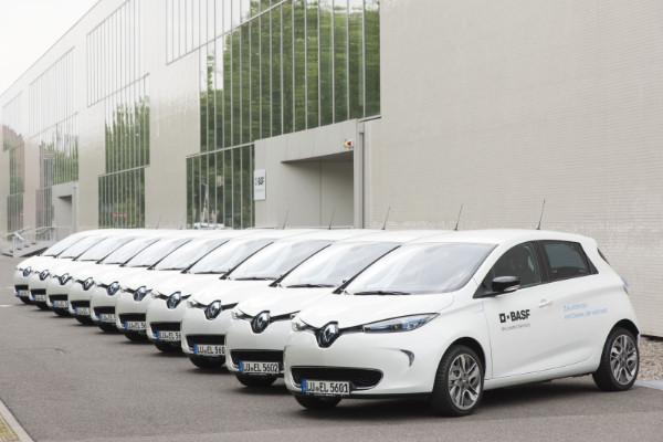 Renault ZOE Elektroautos in der BASF-Flotte