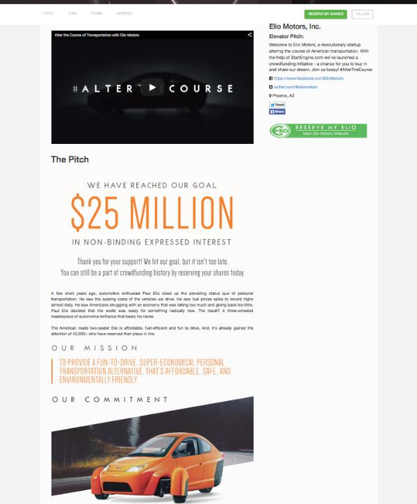 Elio Motors - StartEngine Crowdfunding Kampagne
