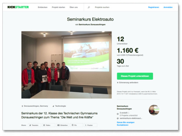 Seminarkurs Elektroauto - Kickstarter Crowdfunding