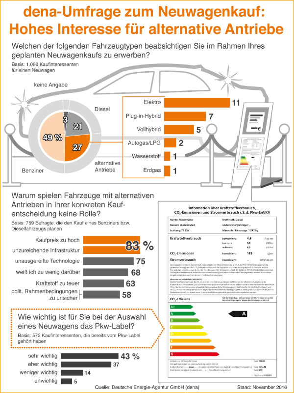 Infografik: dena Umfrage Neuwagenkauf
