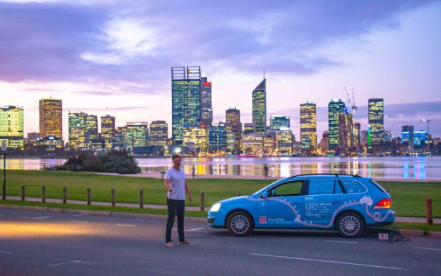 Blue Bandit Elektroauto erreicht Perth