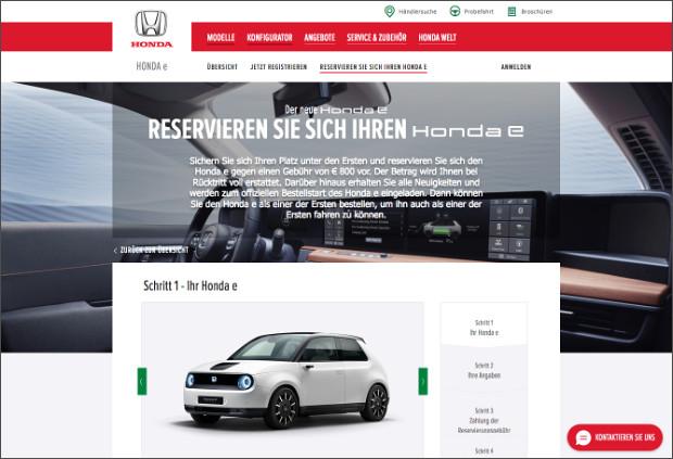 Honda e auf der Honda Webseite reservierbar