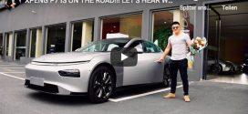 Autobesitzer stellt sein neues Xpeng P7 Elektroauto vor